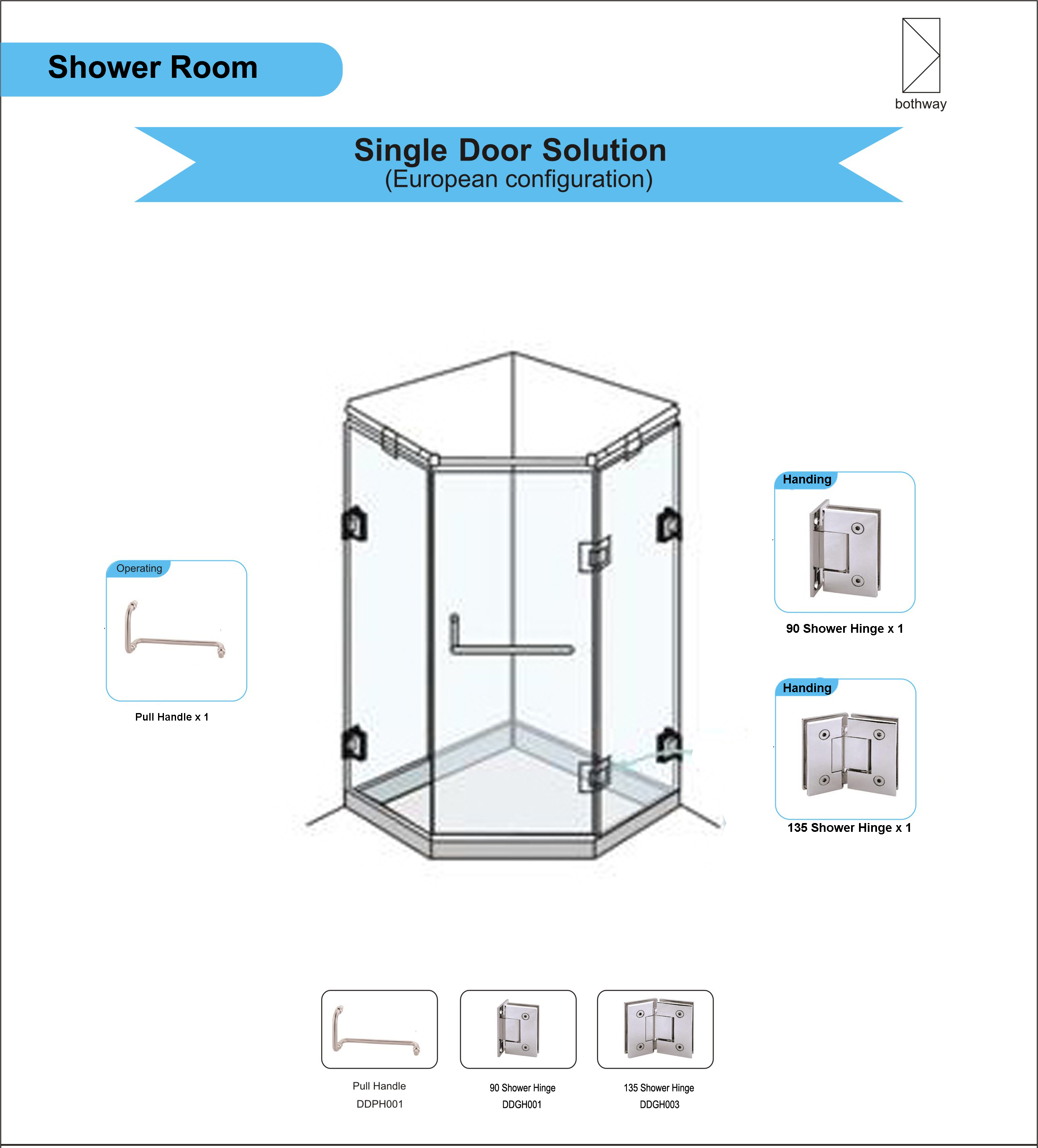 Glass Single Door Hardware for Shower Room