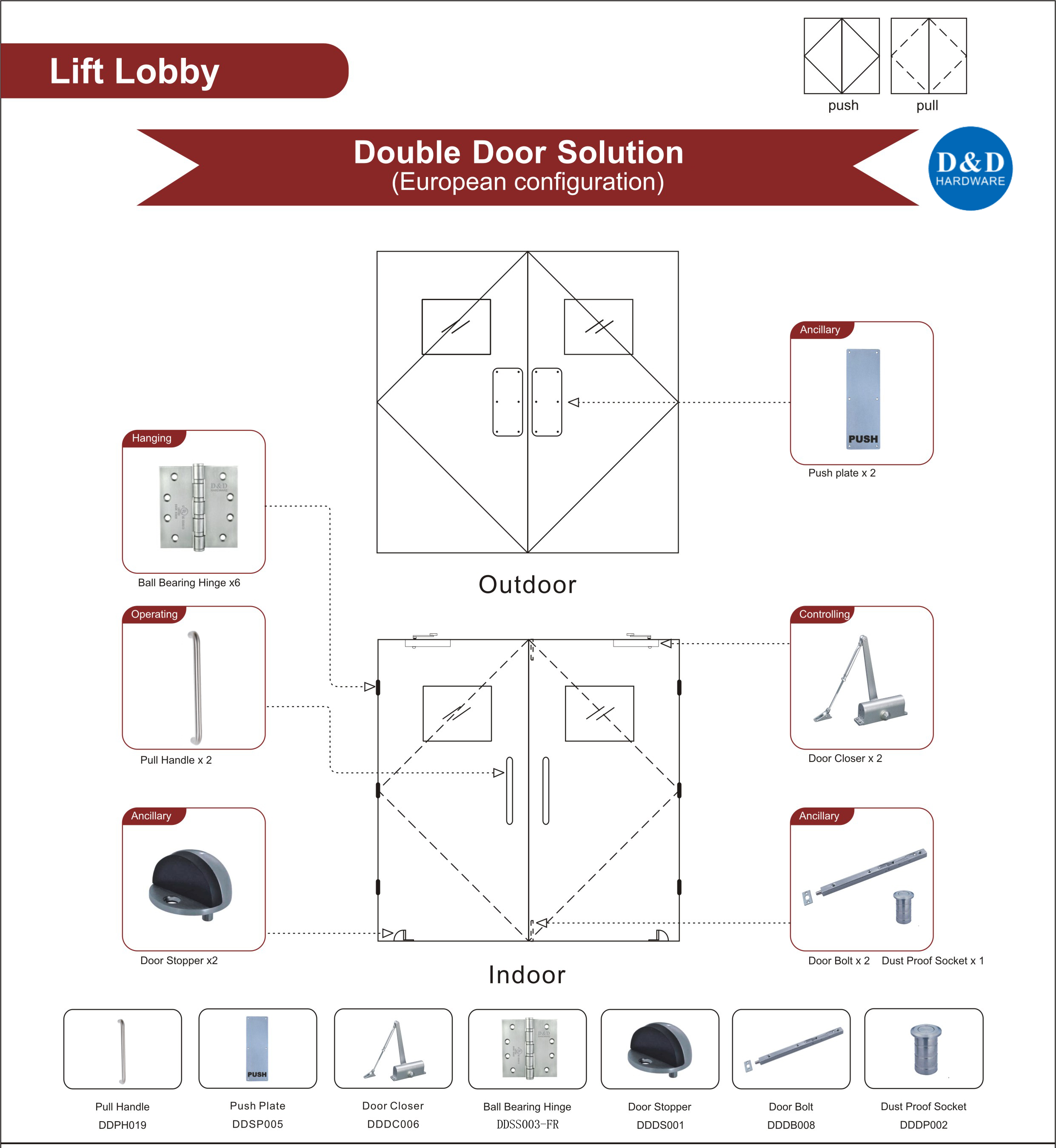 Wooden Fire Rated Door Hardware for Lift Lobby Double Door