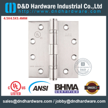 ANSI / BHMA GRADE 2-Stainless Steel Grade 304 Standard Fire Rated Door Hinge with Double Ball Bearing for Smoke Resistant Metal Door-4.5x4.5x3.4mm