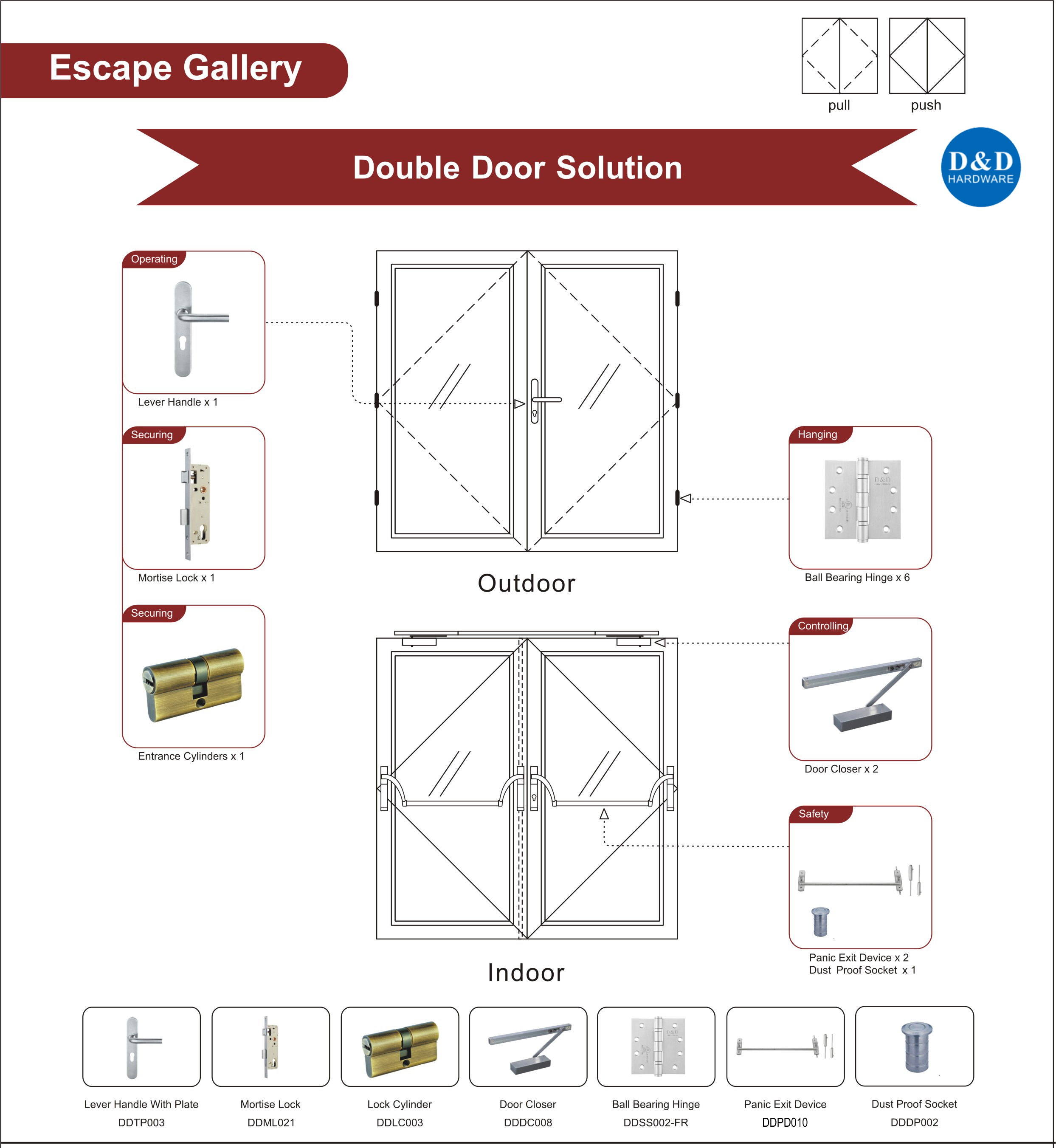Steel Fire Rated Glass Door Ironmongery for Escape Gallery Double Door