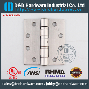 ANSI / BHMA GRADE 1 SSS304 Good Quality Fire Rated Ball Bearing Door Hinge with UL for Interior Door-4.5x4x4.6mm