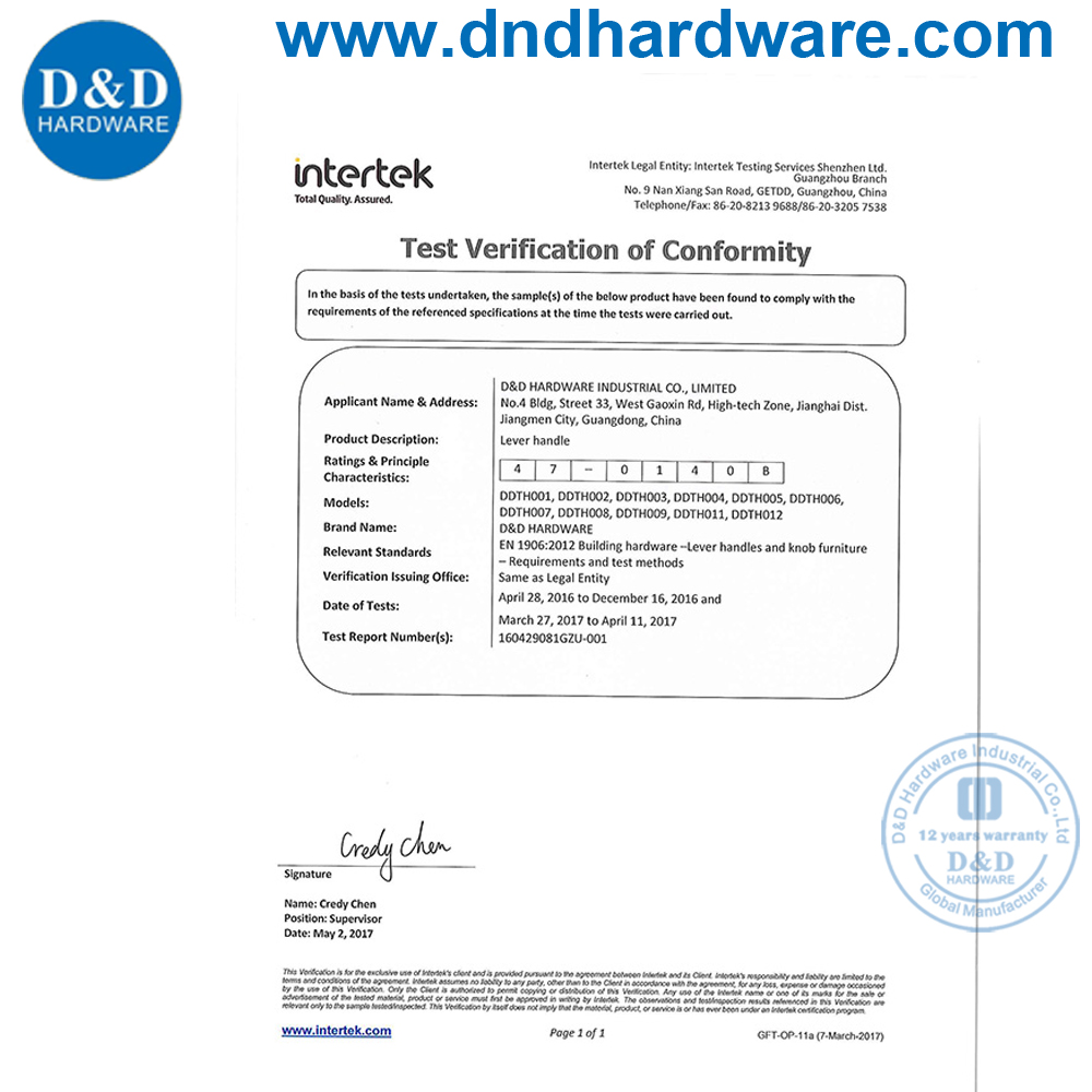Certification of Handle-D&D Hardware