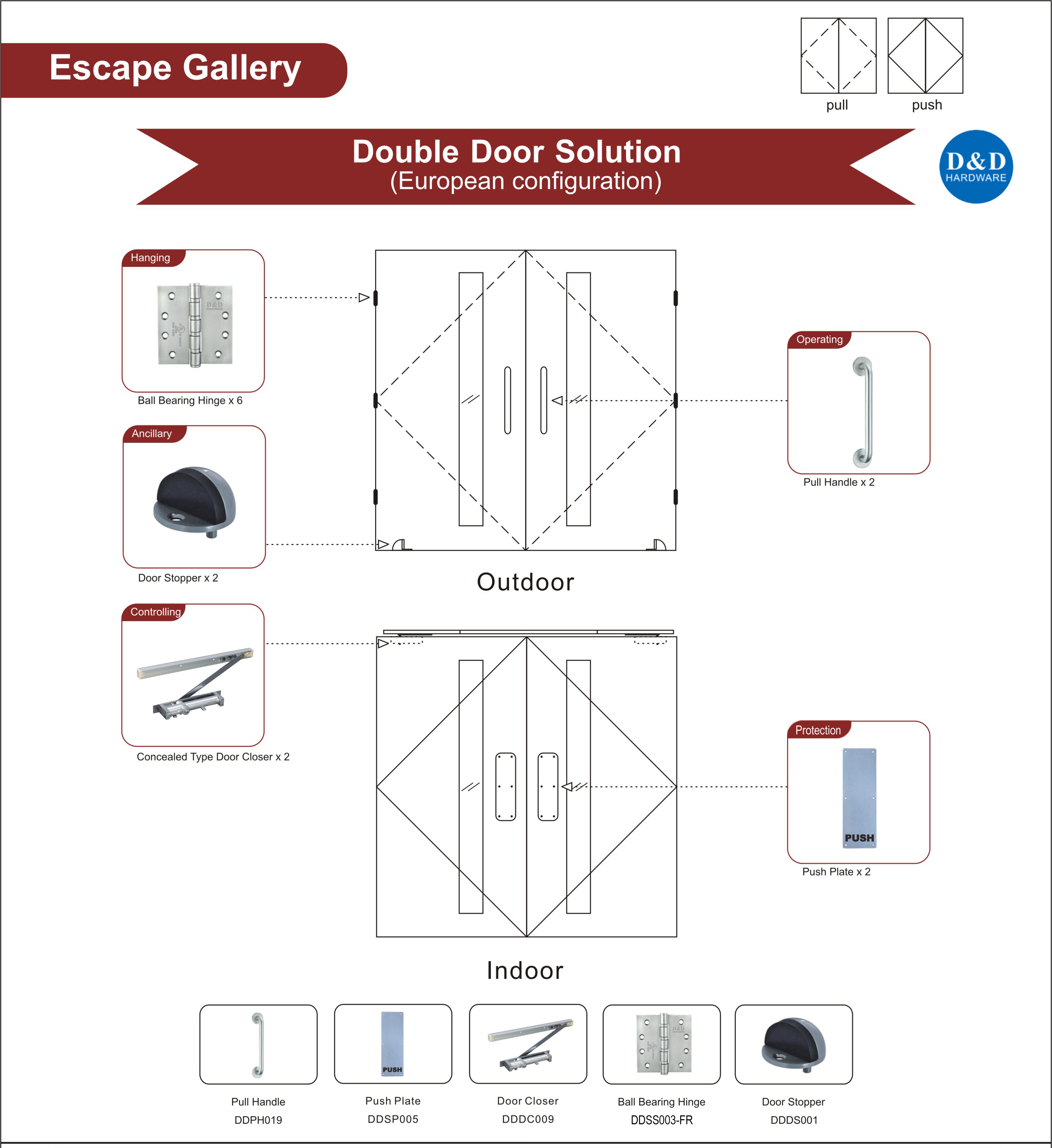 Fire Rated Wooden Sound Insulation Door Hardware for Escape Gallery Double Door