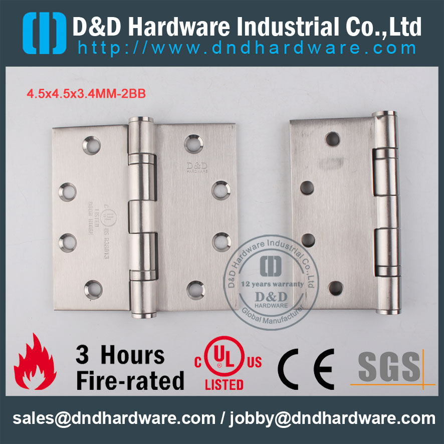D&D Hardware-UL Fire Rated 4.5x4.5x3.4-2BB Door hinge DDSS001