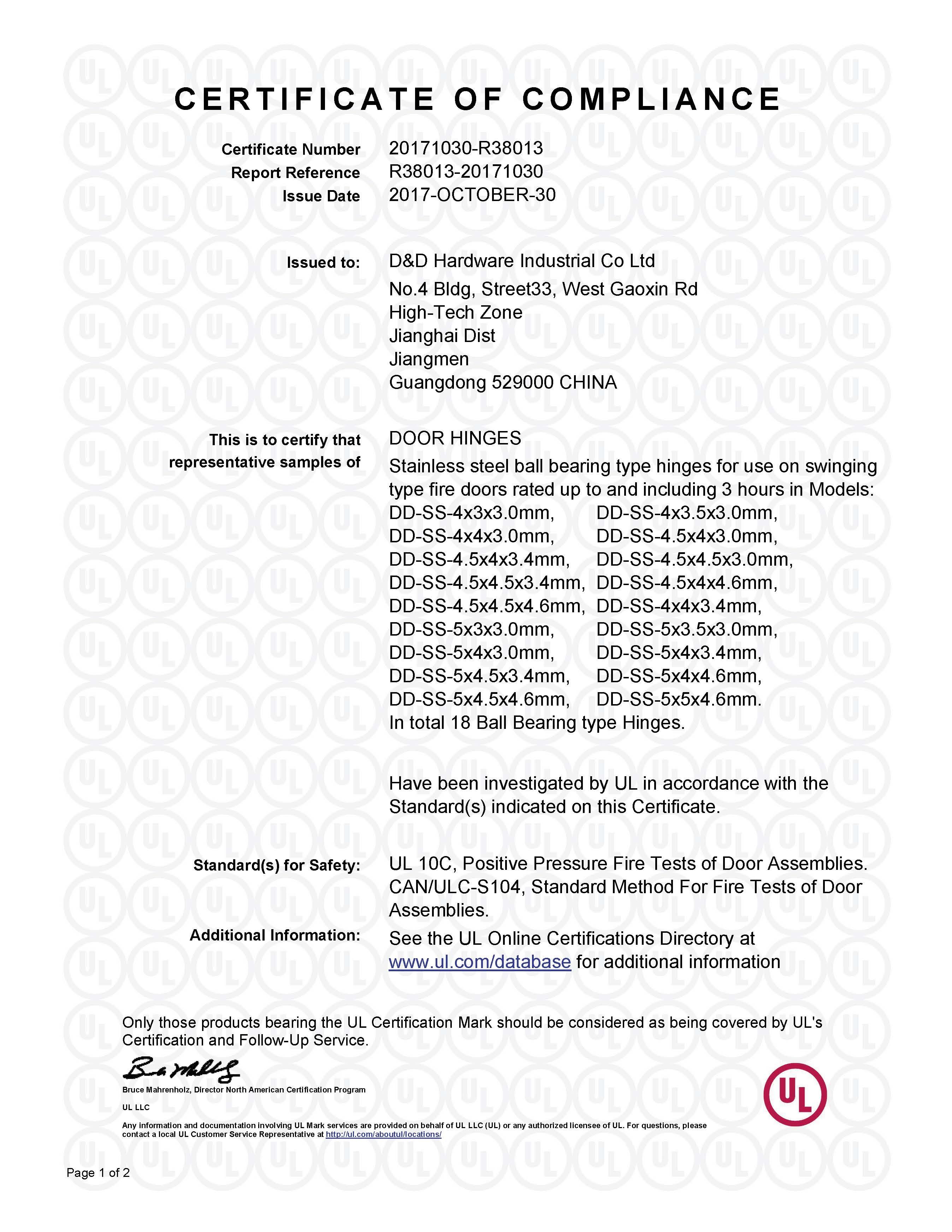 D&D HARDWARE- ANSI Certificate of GRADE 2 DOOR HINGE