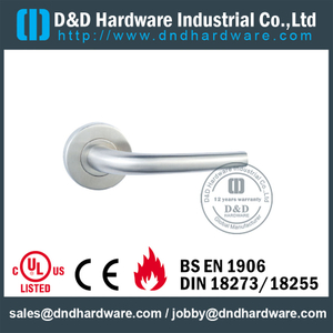 Stainless Steel 316 Tubular Fire Rated Lever Door Handle for Toilet Wooden Door-DDTH004