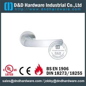 Grade 304 Designer Solid Lever Handle on Rose for Hollow Metal Doors -DDSH010