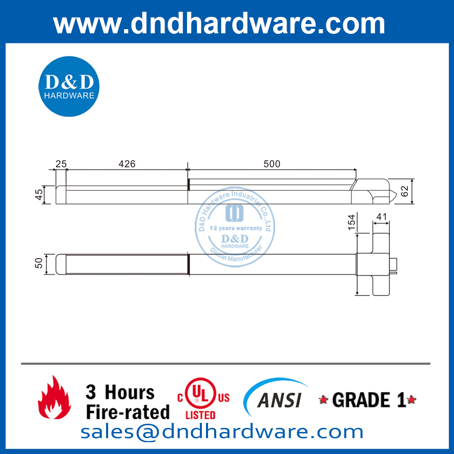 UL Listed Stainless Steel 304 Fire Rated Panic Exit Device -DDPD003