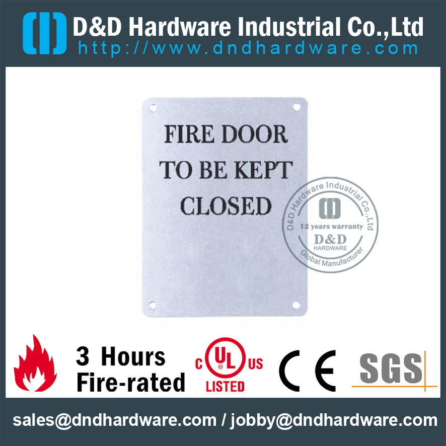 SS304 Square Fire Door Signature Plate 130x170mm for Fire Resisting Doors -DDSP010