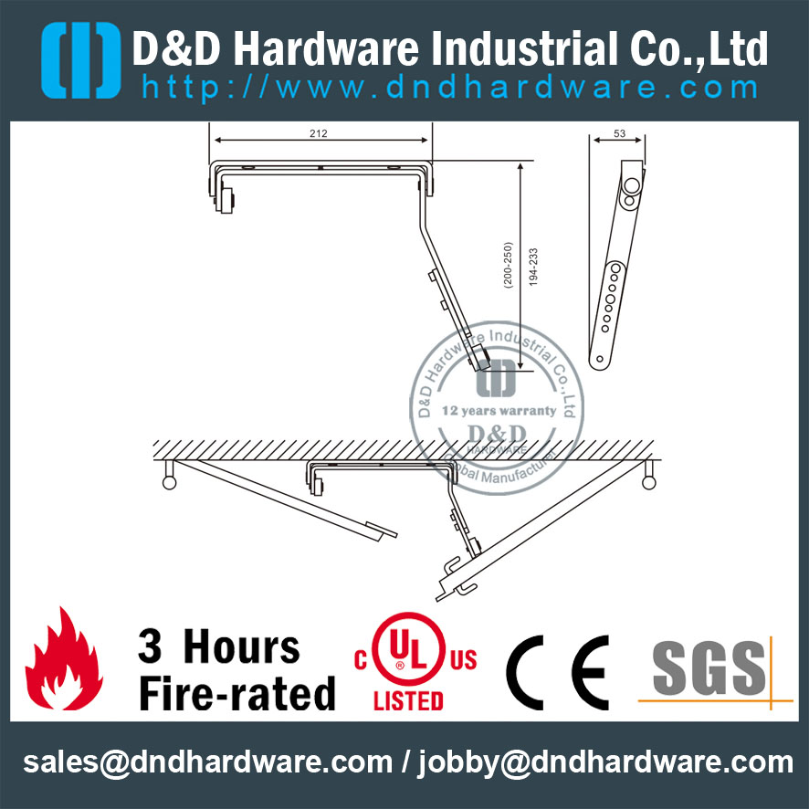 Door Coordinator for fire labeled door DDDR004-dimensions