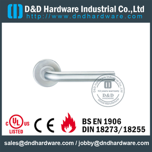 Stainless Steel 304 L Shape Fire Rated Hollow Lever Door Handle for Aluminum Metal Door with EN1906-DDTH002
